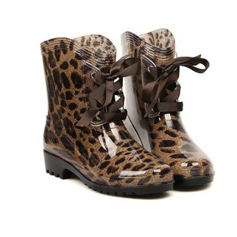 Fashion Lace-Up and Round Toe Design Rain Boots For Women - LEOPARD 40