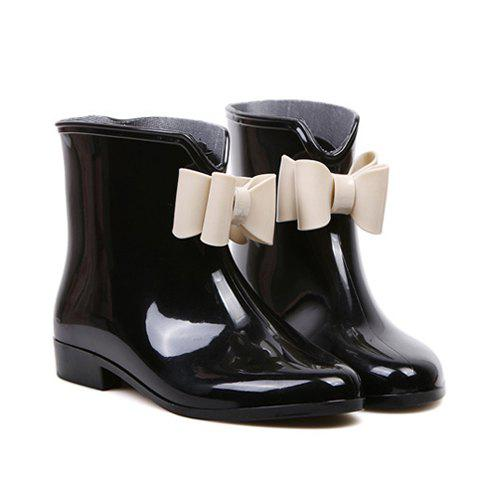 Bowknot and Color Matching Design Rain Boots For Women