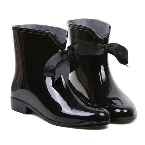 Sweet Solid Color and Ribbon Design Rain Boots For Women - BLACK 39