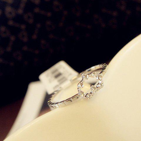 Fashion Diamante Hollow Heart Embellished Alloy Ring For Women