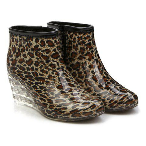 Stylish Wedge and Print Design Rain Boots For Women - LEOPARD 36