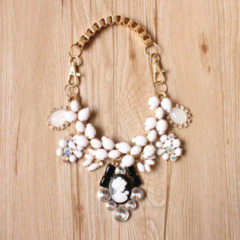 Vintage Chic Diamante Faux Gemstone Embellished Carved Beauty Pendant Necklace For Women - AS THE PICTURE