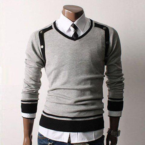 Fashionable Gentle Style V-Neck Special Design Long Sleeves Color Block Slimming Knitted Cotton Blend Sweater For Men - GRAY XL