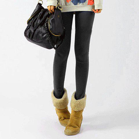 Women's Modal Cotton Narrow Feet Solid Candy Color Stretchy Ladylike Legging - BLACK ONE SIZE