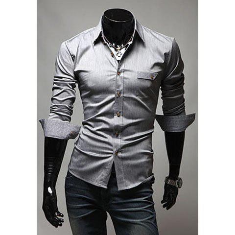 Fashionable Gentle Style Shirt Collar Solid Color Long Sleeves Slimming Cotton Shirt For Men - GRAY M