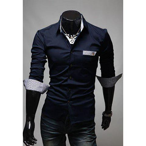 Fashionable Gentle Style Shirt Collar Solid Color Long Sleeves Slimming Cotton Shirt For Men - NAVY XL