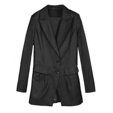 Charming Style Lapel Collar Two-Button Design Solid Color Long Sleeves Slimming Women's Blazer - BLACK S