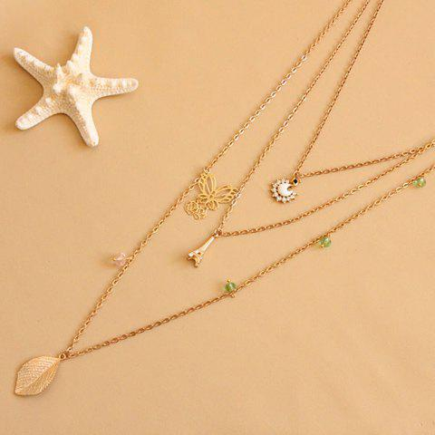 Vintage Leaf & Butterfly & Tower & Swan Shape Multi-Layered Sweater Chain Necklace For Women