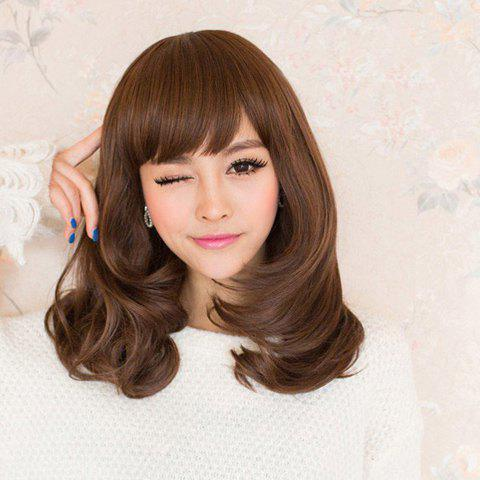 Fluffy Inclined Bang Sweet Long Wavy High Temperature Fiber Wig For Women - LIGHT BROWN