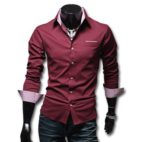Korean Fashionable City Style Shirt Collar Solid Color Long Sleeves Slimming Cotton Shirt For Men - WINE RED L