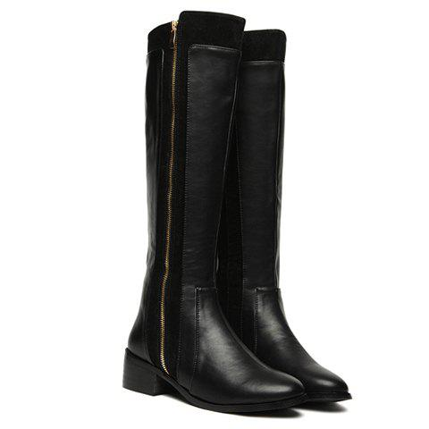 Vintage Black Zipper and Splice Design Knee High Boots For Women - BLACK 38