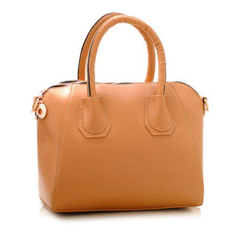 Trendy Solid Color and Zipper Design Handbag For Women - KHAKI