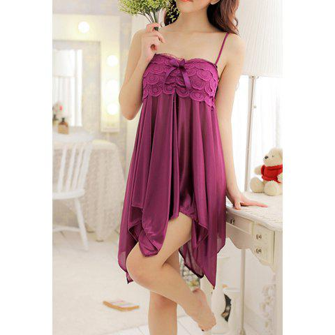Sexy Style Solid Color Spandex Alluring Spaghetti Strap Women's Baby Dolls - PURPLE ONE SIZE