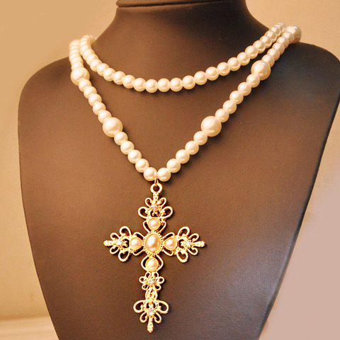 Elegant Cross Shape Pendant Multi-Layered Faux Pearl Sweater Chain Necklace For Women