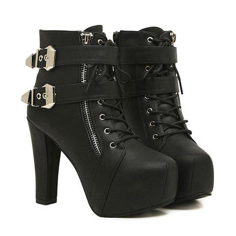 Sexy Black Chunky Heel and Buckle Design Short Boots For Women - BLACK 39