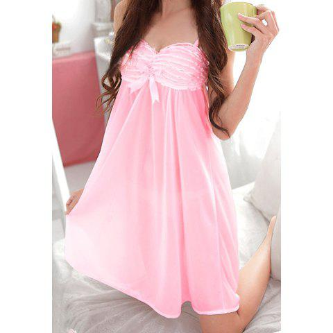 Solid Color Sweet Style Charming Women's Baby Dolls - PINK ONE SIZE