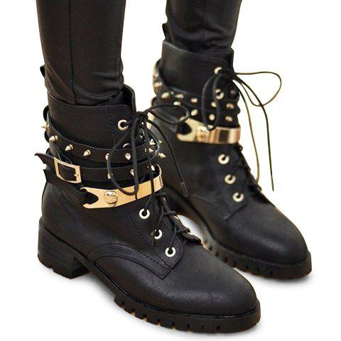 Stylish Lace-Up Design Black Studded Combat Boots For Women, BLACK ...
