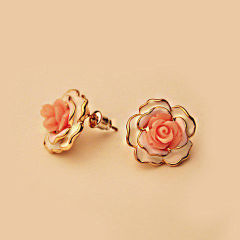 Pair of Resin Flower Shape Earrings - WHITE