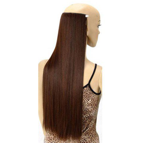 Trendy Long Straight High Temperature Fiber Women's Hair Extension - DEEP BROWN