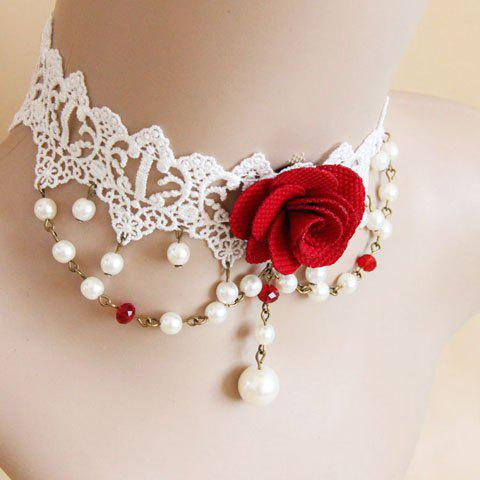 Faux Pearl Design Flower Shape Lace Choker Necklace - AS THE PICTURE