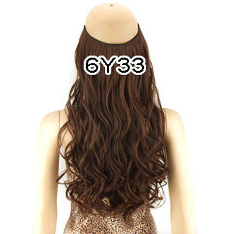 Fashion Fluffy Long Wavy High Temperature Fiber Women's Hair Extension - BROWN