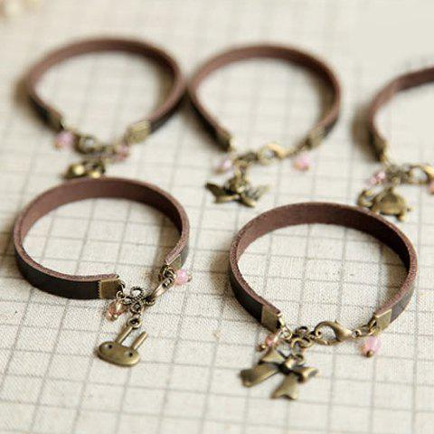 Cute Animal / Plant Pendant Faux Leather Bracelet For Women - COLOR RANDOM PATTERN
