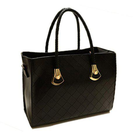 British Style Solid Color and Checked Design Tote Bag For Women - BLACK