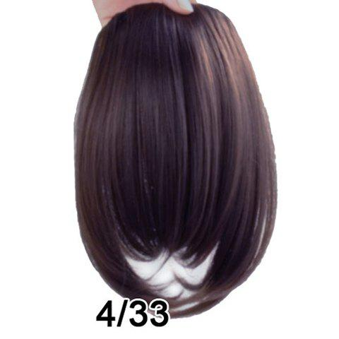 Ladylike Fluffy Straight High Temperature Fiber Women's Side Bang - DEEP BROWN