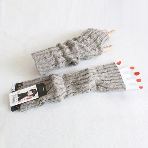 Pair Of Hot Sale Solid Color Knitted Winter Gloves - WHITE