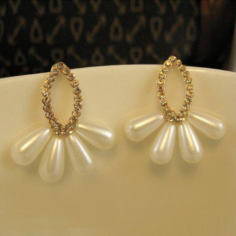 Pair of Fashion Diamante Fanshaped Faux Pearl Pendant Earrings For Women