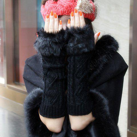 Pair Of Artificial Hair Design Knitted Long Winter Gloves With Exposed Fingers - BLACK