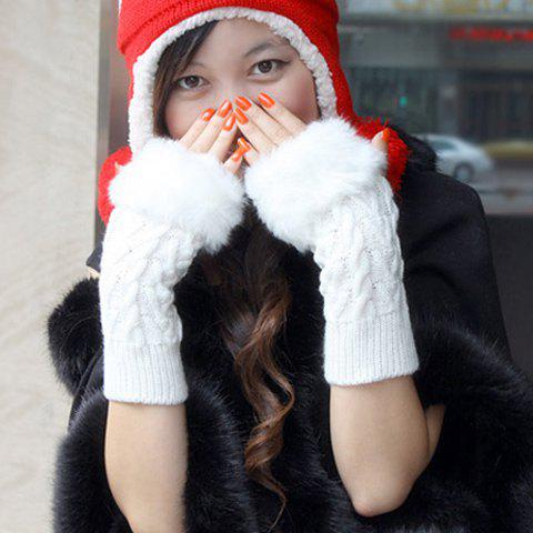 Pair Of Artificial Hair Design Braid Shape Winter Gloves With Exposed Fingers - WHITE