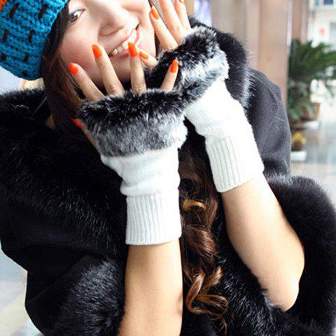 Pair Of Warm Artificial Hair Winter Gloves With Exposed Fingers - COLOR ASSORTED