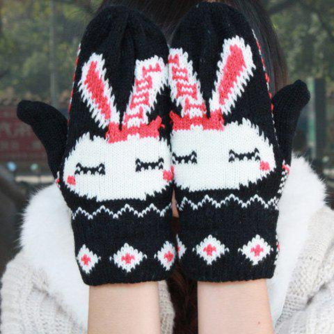 Pair Of Sweet Bunny Pattern Design Knitted Woolen Yarn Winter Gloves - BLACK