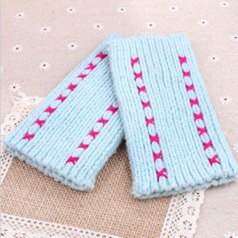 Pair Of Sweet Cross Pattern Knitted Woolen Yarn Winter Gloves With Exposed Fingers - SKY BLUE