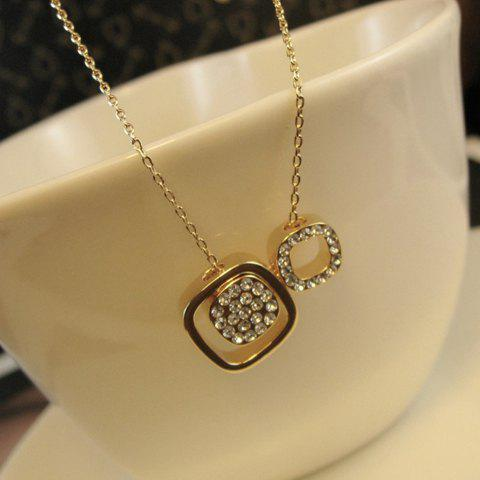 Chic Diamante Hollow Cube Pendant Necklace For Women - COLOR ASSORTED
