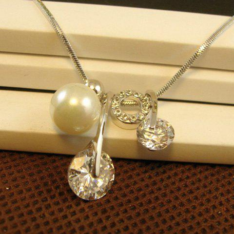 Fashion Faux Gemston and Faux Pearl Pendant Necklace For Women - COLOR ASSORTED