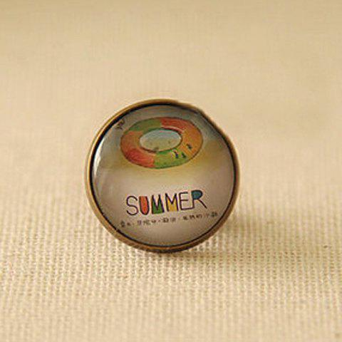 Sweet Letter Summer & Swim Ring Pattern Design Round Brooch - AS THE PICTURE