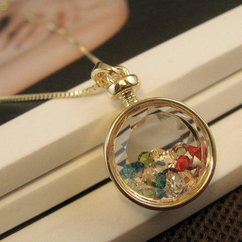 Faux Crystal Embellished Round Pendant Necklace - COLOR ASSORTED