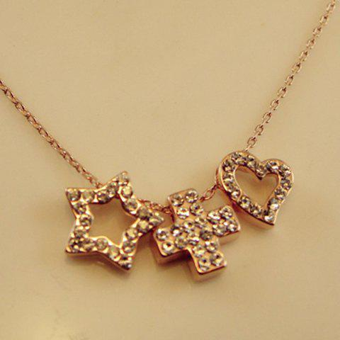Brilliant Diamante Star and Heart Pendant Alloy Necklace For Women - WHITE