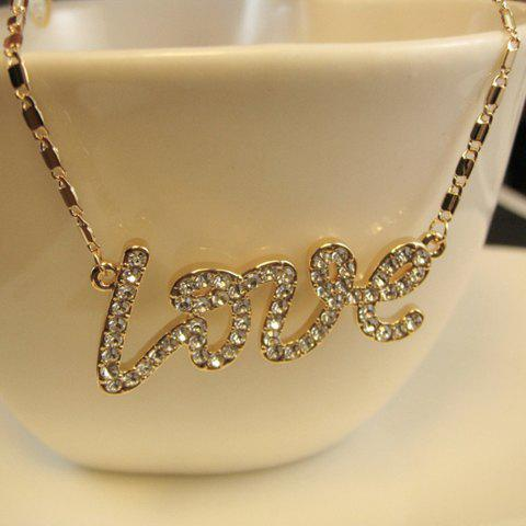 Chic Diamante Word Love Pendant Alloy Necklace For Women - GOLD