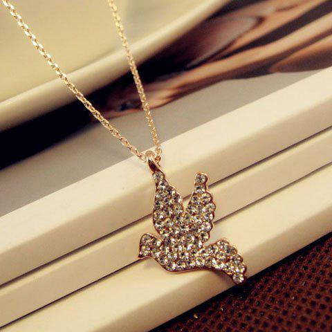 Chic Fully-Jewelled Peace Dove Pendant Alloy Necklace For Women - AS THE PICTURE