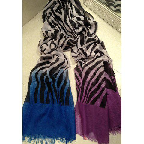 Chic Style Zebra Stripe Design Gradation Scarf - PURPLE