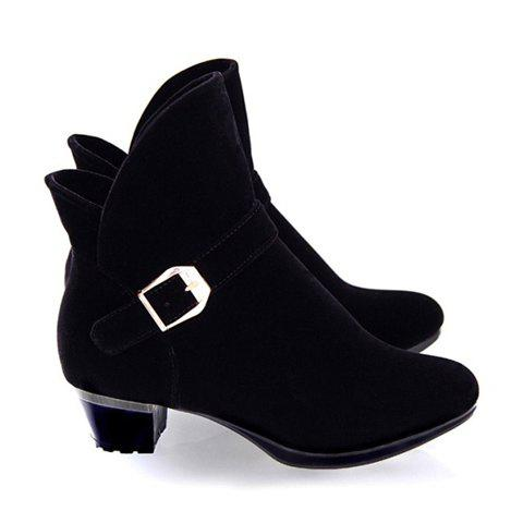 Simple Fold and Buckle Design Boots For Women - BLACK 34
