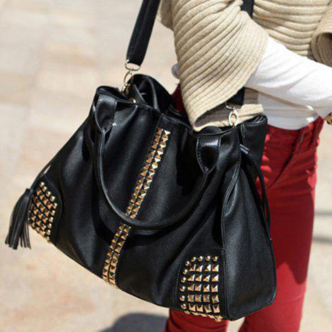Stylish Rivets and Tassels Design HandBag For Women