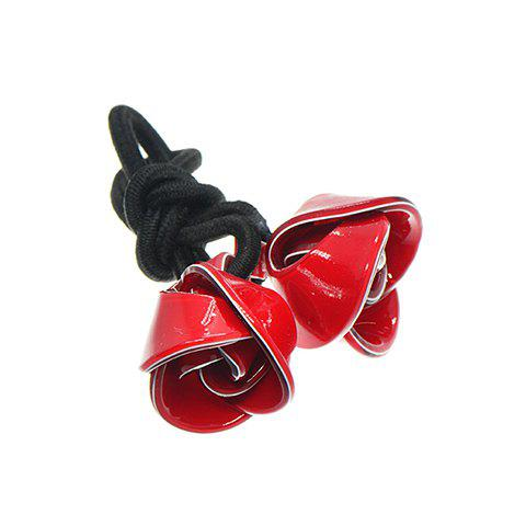 Fashion Colored Handmade Rose Embellished Elastic Hair Band For Women - RED