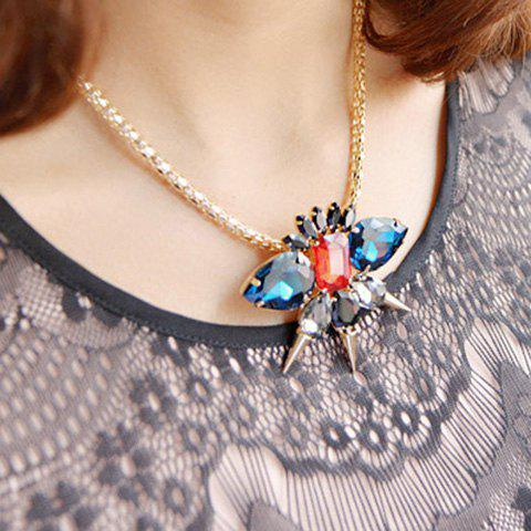 Vintage Colored Crystal and Rivet Embellished Pendant Alloy Necklace For Women - RED