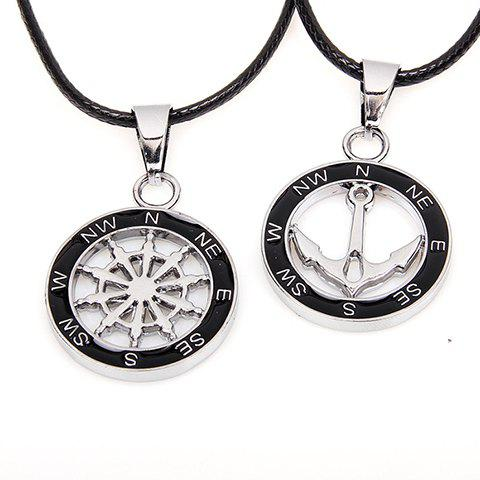 2PCS of Fashion Anchor and Helm Embellished Round Pendant Necklaces For Lovers - BLACK