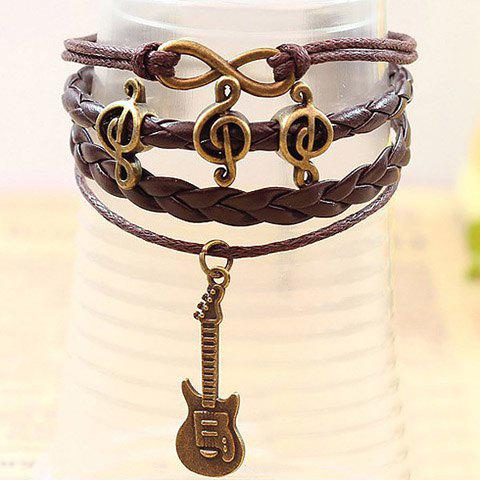 Guitar Pendant Note Embellished Multi-Layered Charm Bracelet - BROWN