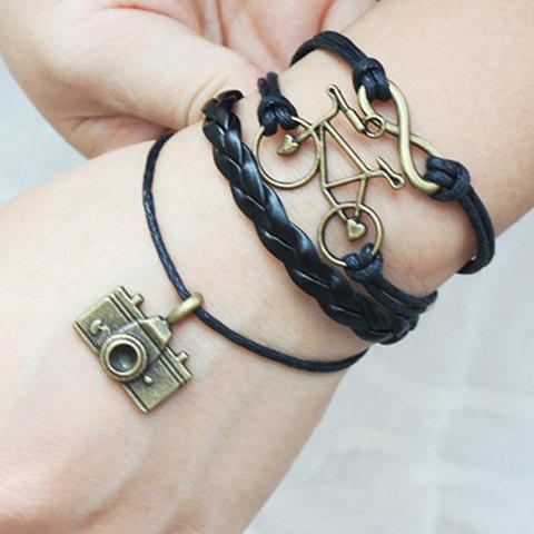 Infinity Bike Camera Multilayer Bracelet - BLACK